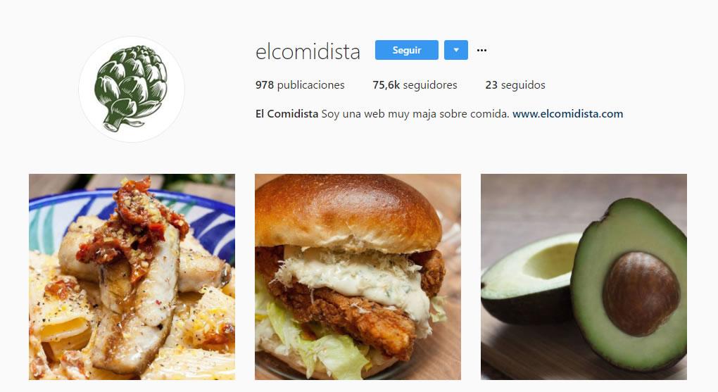 top influencers de Instagram en gastronomía: El comidista