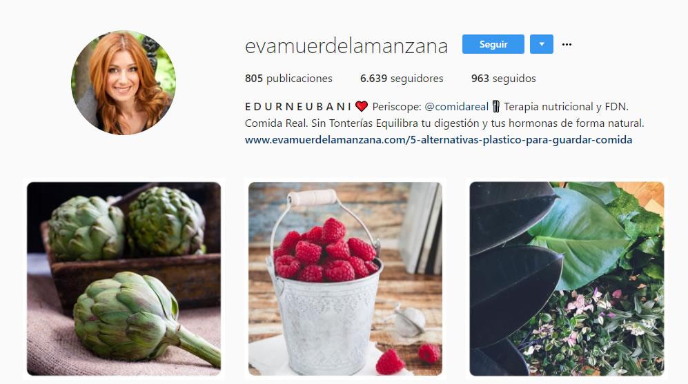 top influencers de Instagram en gastronomía: Eva muerde la manzana