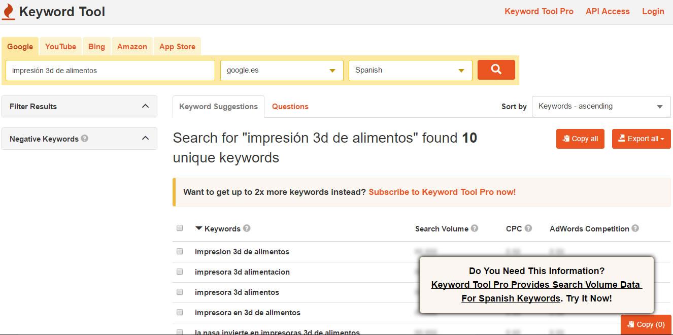 herramientas para encontrar keywords: Keyword Tool