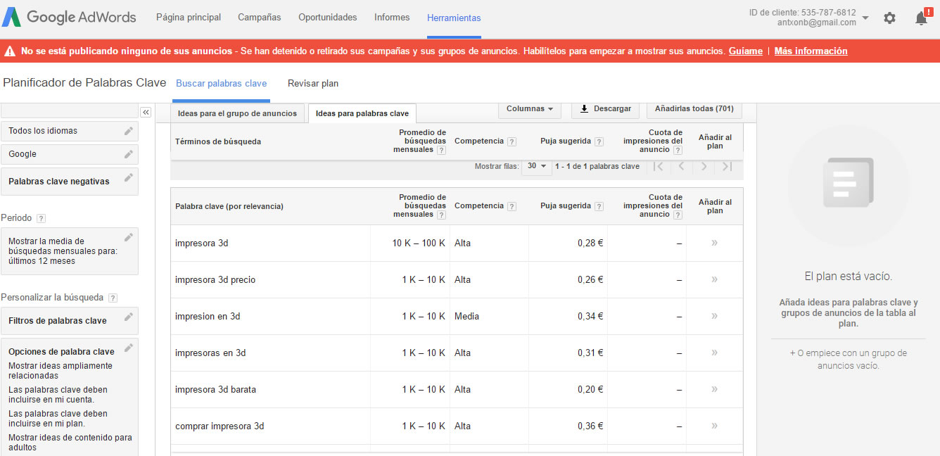 herramientas para encontrar keywords: Keyword Planner