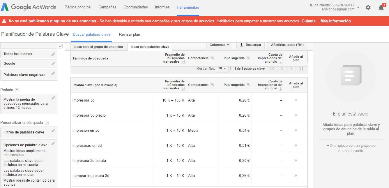 herramientas para encontrar keywords: Keyword Planner