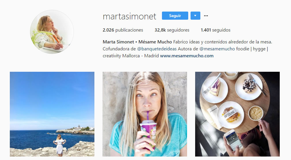 top influencers de Instagram en gastronomía: Marta Simonet