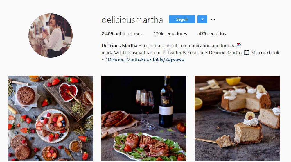 top influencers de Instagram en gastronomía: Delicious Martha