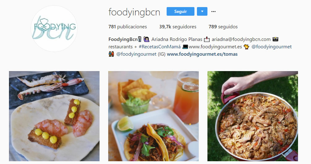 top influencers de Instagram en gastronomía: Foodyingbcn