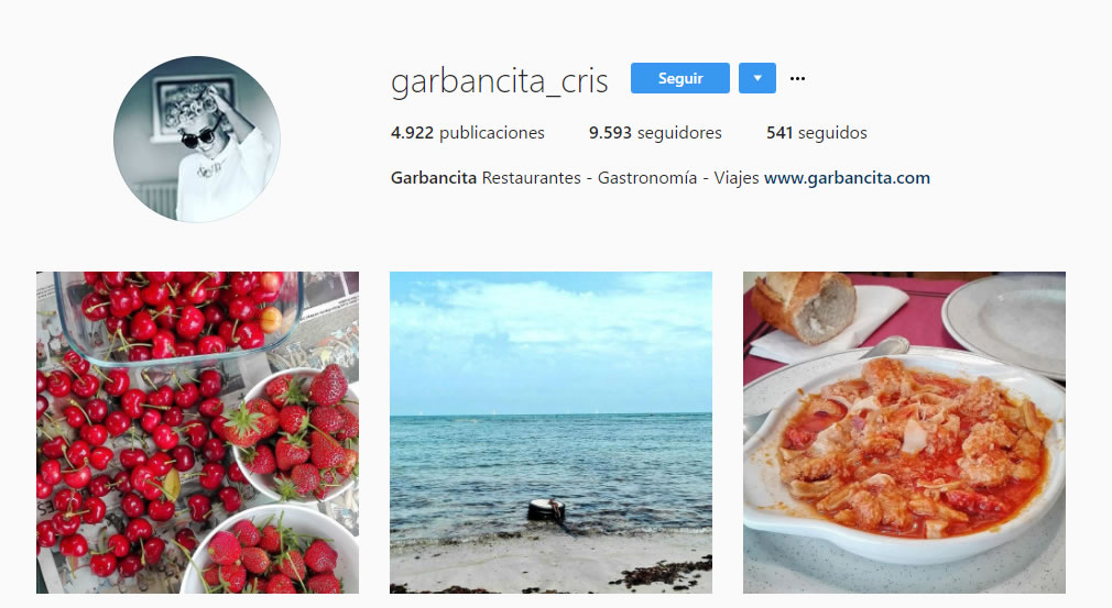top influencers de Instagram en gastronomía: Garbancita