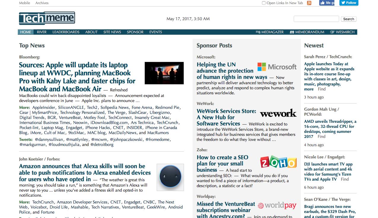 ideas para monetizar un blog: Techmeme