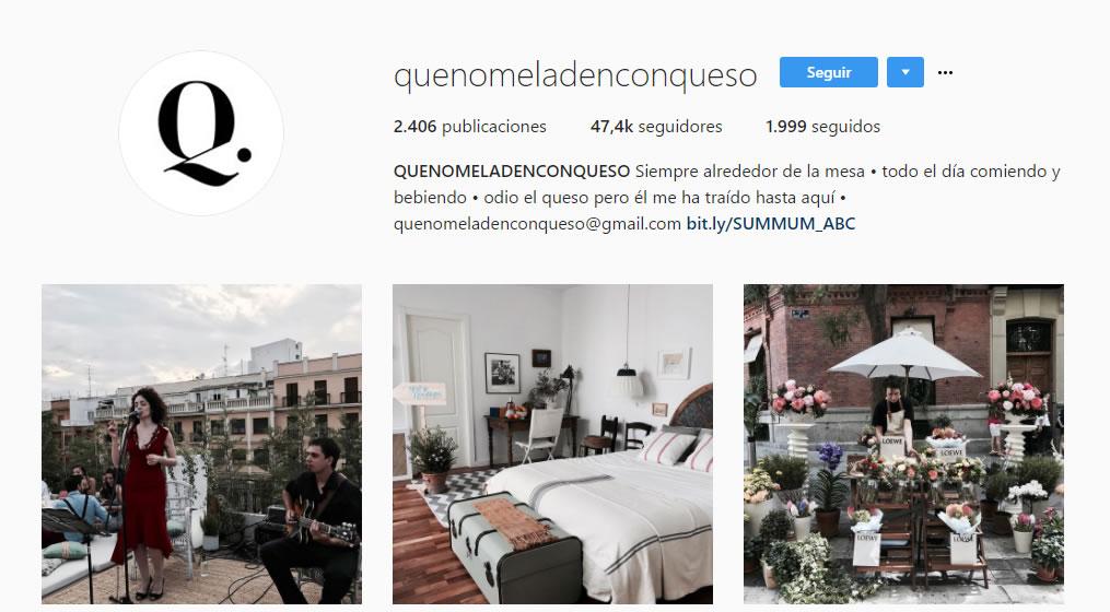 top influencers de Instagram en gastronomía: Que no me la den con queso