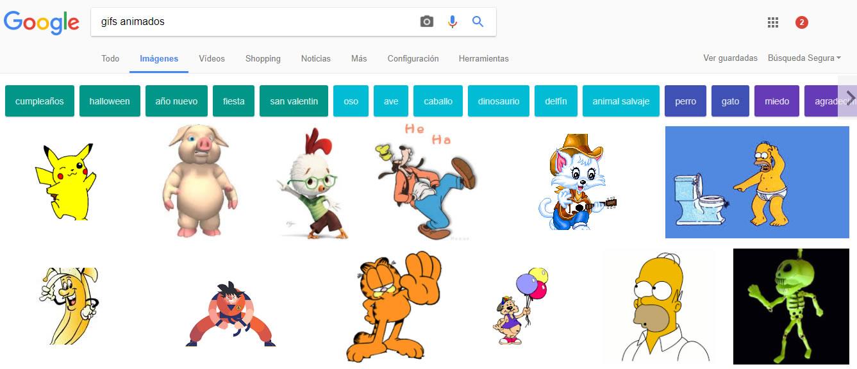 utilizar gifs animados: Google imágenes