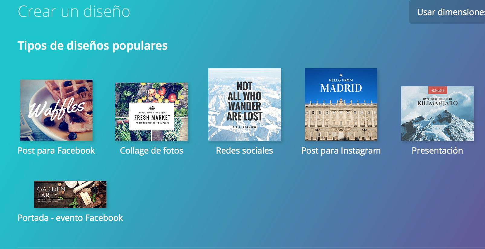 apps para crear contenidos de redes sociales: Canva
