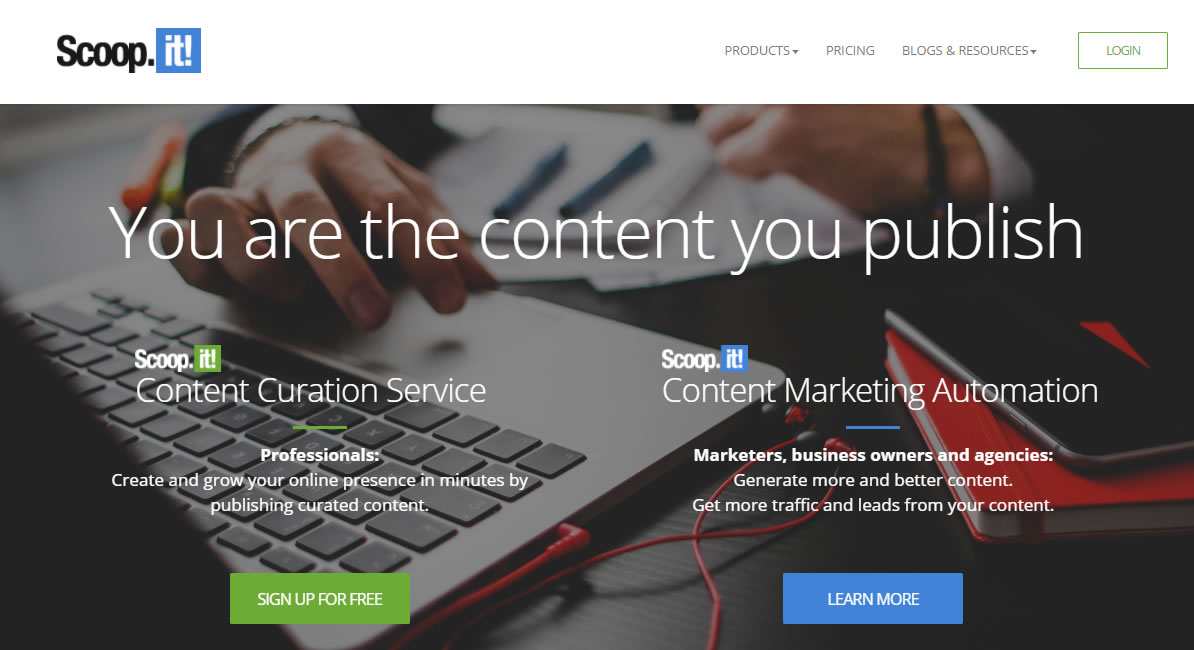 ispirazione per creare contenuti website Scoopit