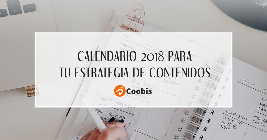 Calendario 2018 para tu estrategia de contenidos