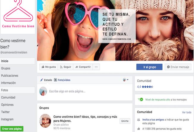 perfiles de moda en Facebook