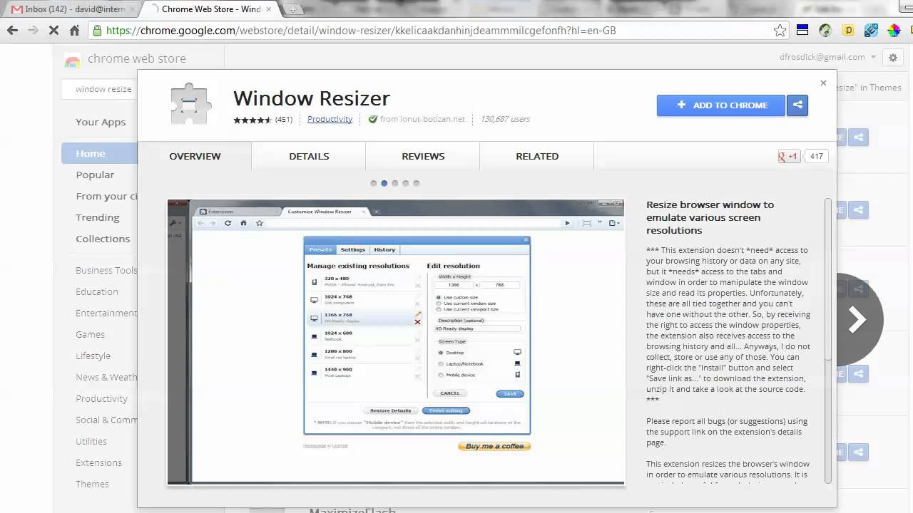 10 extensiones de Chrome esenciales; window resizer