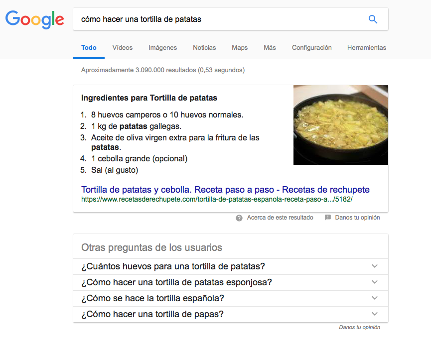 tortilla Knowledge Graph de Google