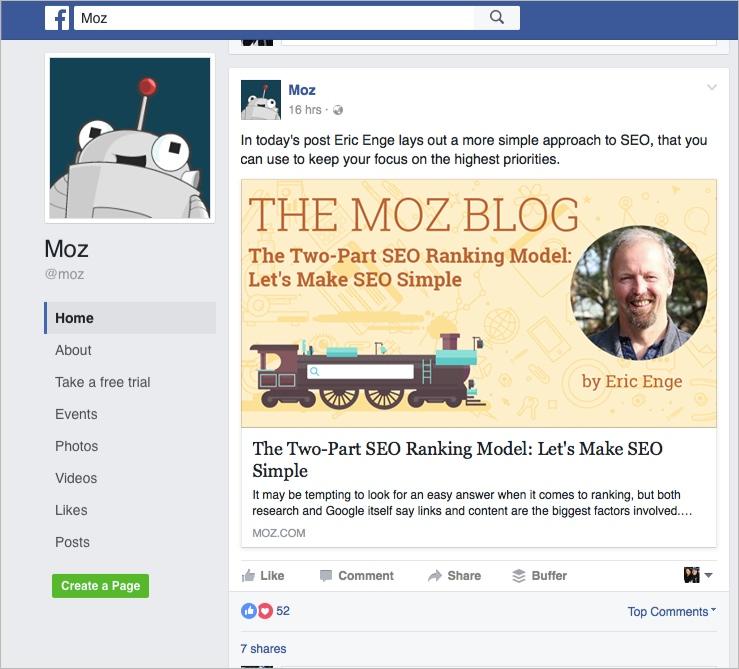 Página de negocios de Facebook