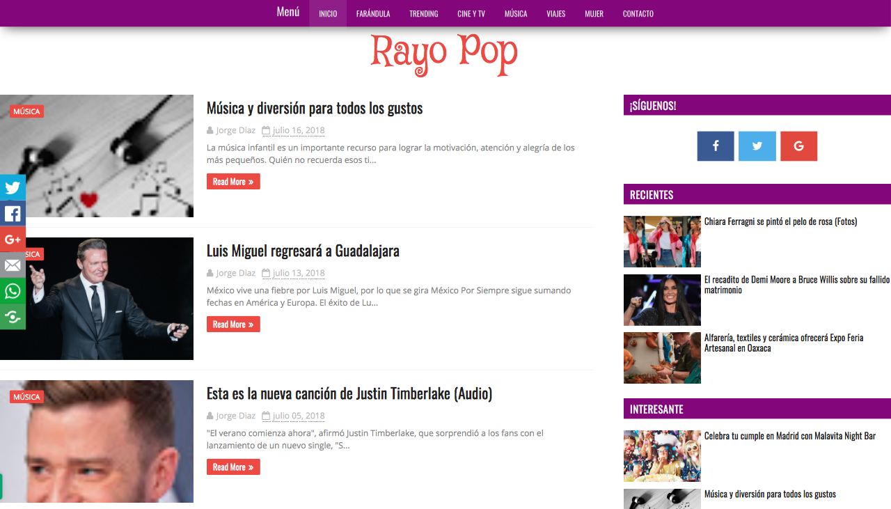 blogs de música de México rayo pop
