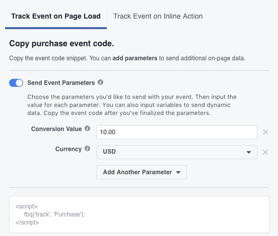 eventos pixel de Facebook
