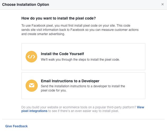 instalación del píxel de Facebook