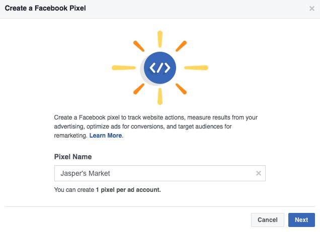 nombre del píxel de Facebook
