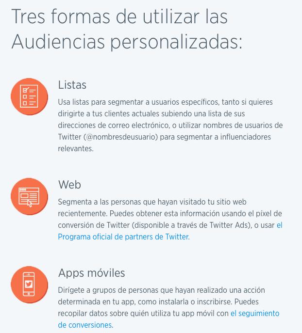 segmentación en Facebook Ads y Twitter Ads twitter audiencias personalizadas