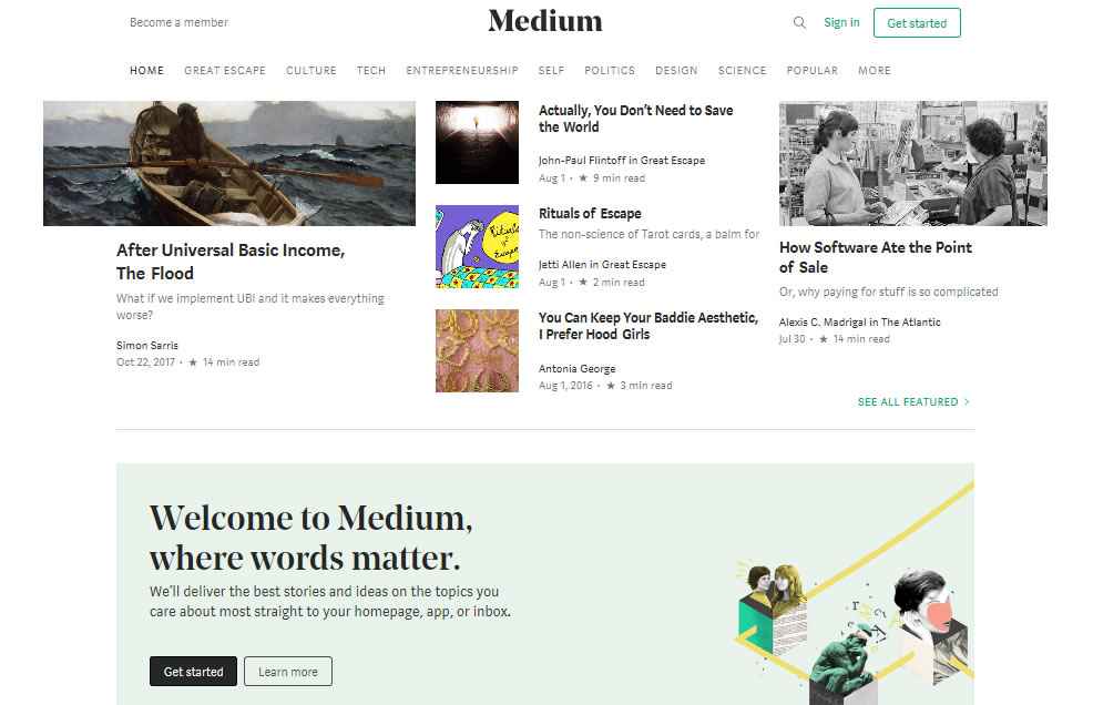 plataformas para crear blogs en 2018: Medium