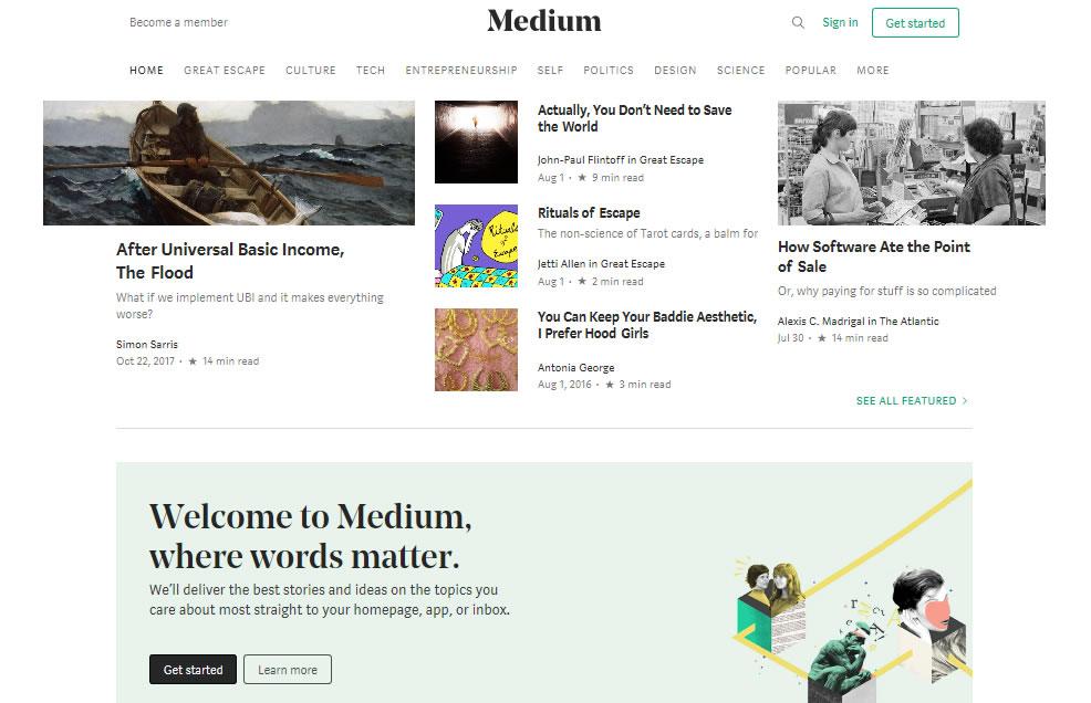 plataformas para crear blogs en 2018: Medium