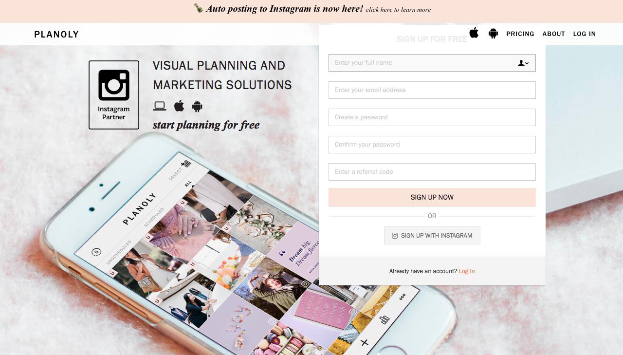programar contenido en Instagram planoly
