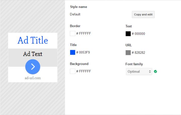 Google AdSense colores