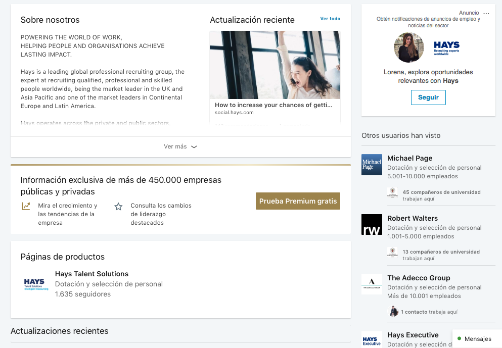 páginas de empresa en LinkedIn hays