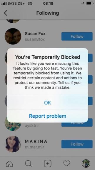 Uso de bots en Instagram