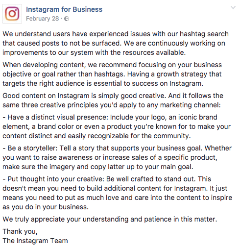 shadowban de Instagram for business