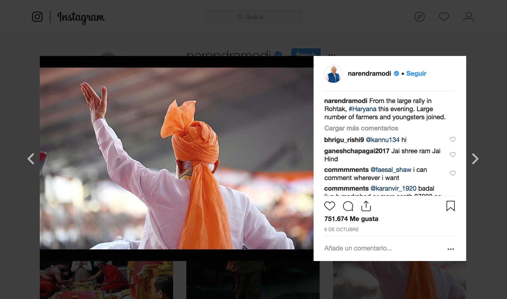 Políticos influencers en Instagram. Narendra Modi