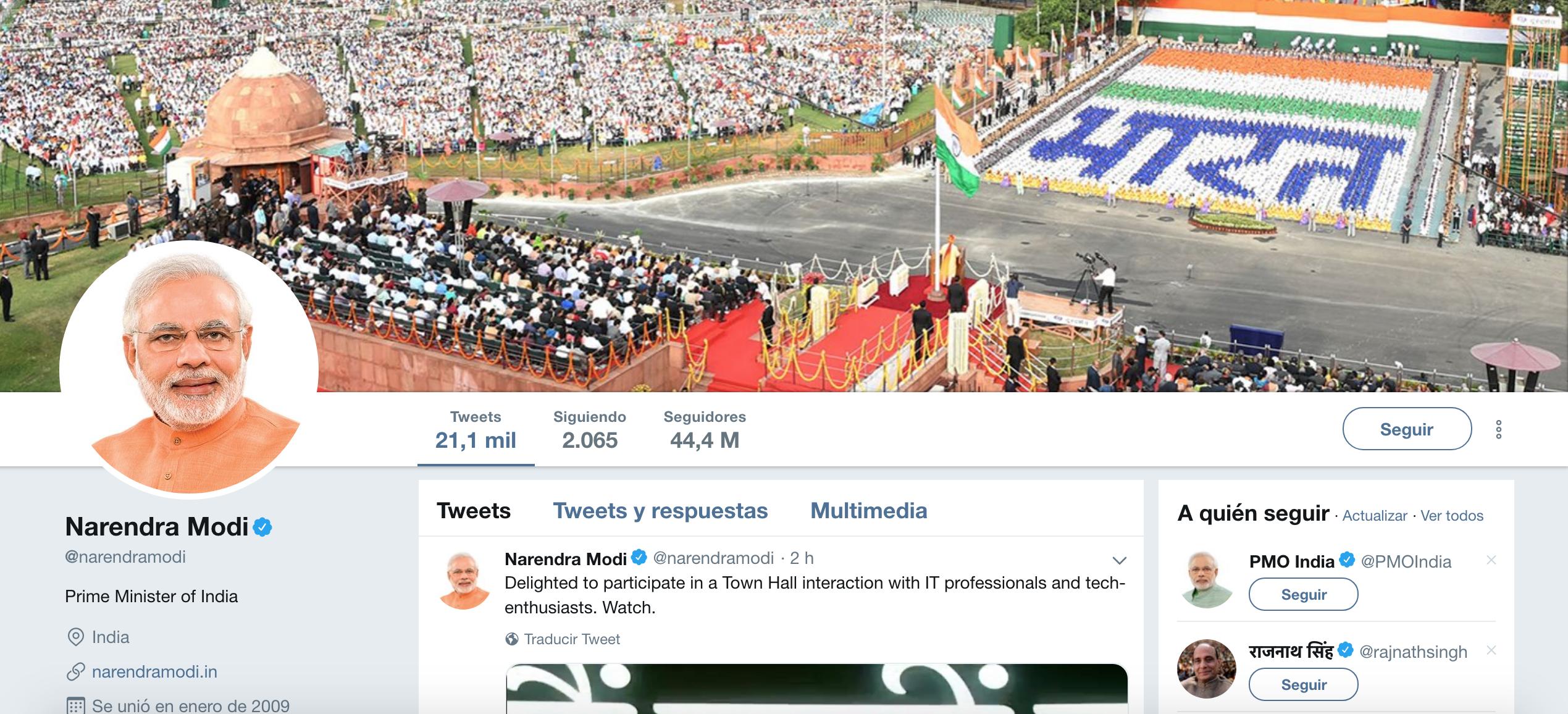 Políticos influencers. Narendra Modi
