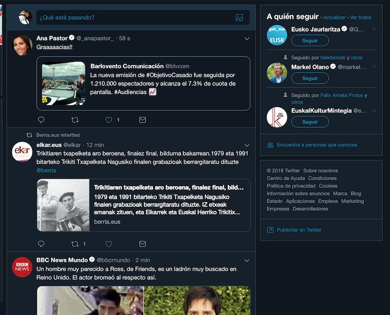 nuevo diseño de Twitter menú desplegable
