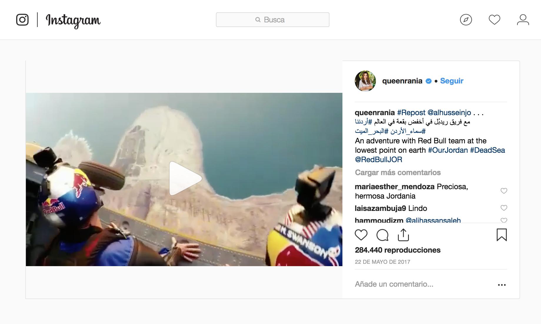 Políticos influencers en Instagram. Reina Rania de Jordania