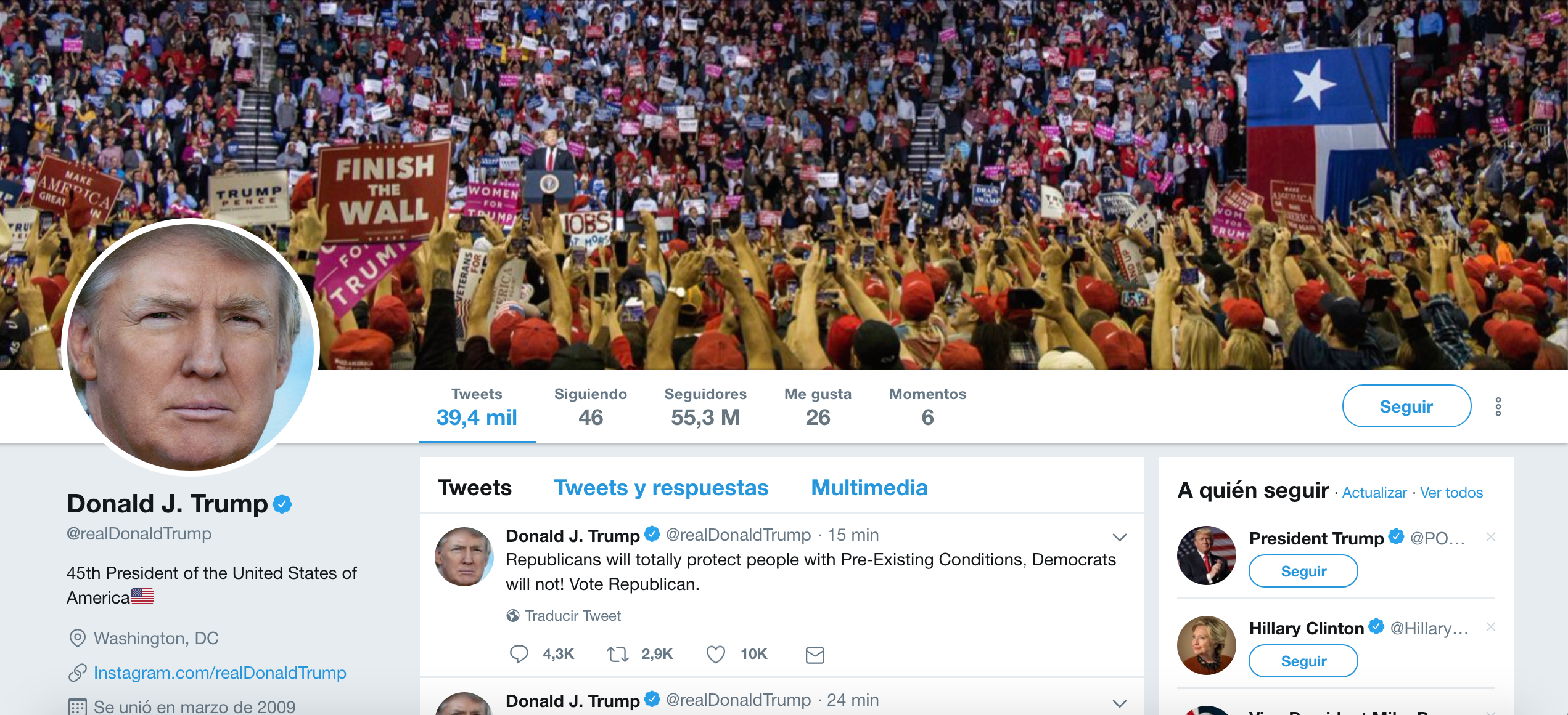 Ppolíticos influencers. Donald Trump
