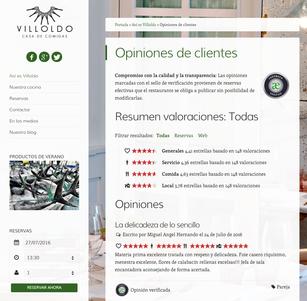 comentarios positivos sobre una marca reseña