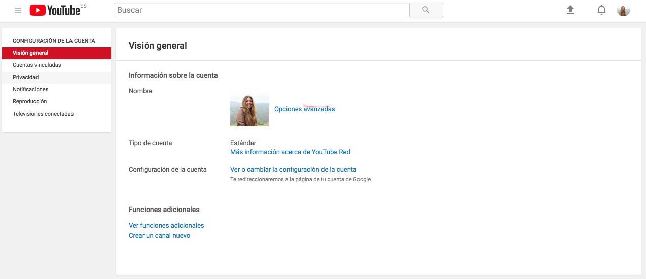 configuración crear un canal de Youtube