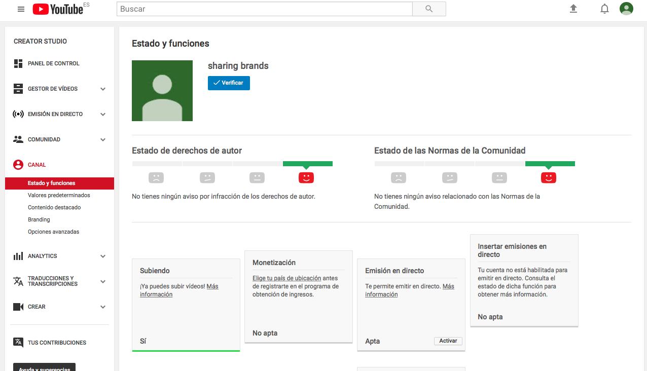 verificación crear un canal de Youtube