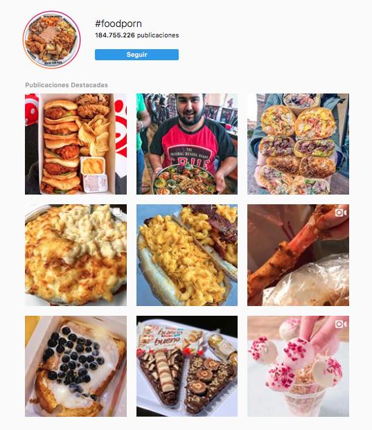 Hashtags en Instagram alimentos