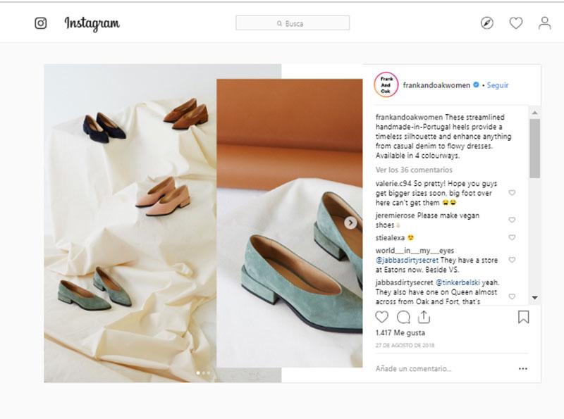 Instagram en 2019 ejemplo