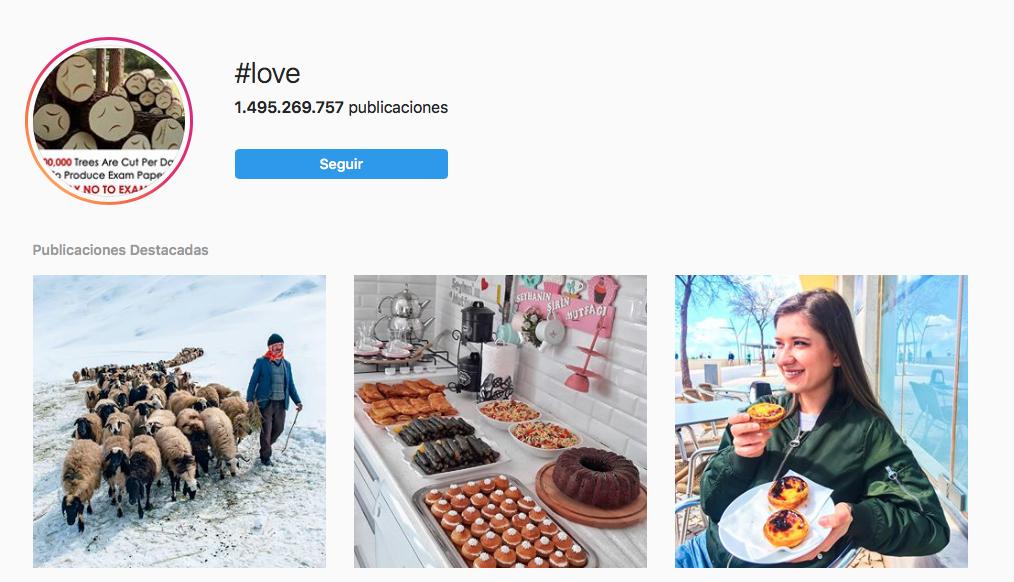 Hashtags en Instagram love