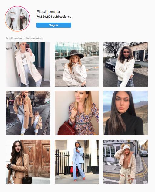 Hashtags en Instagram moda