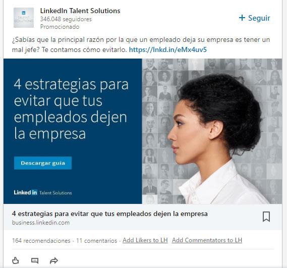 Anuncios en Linkedin
