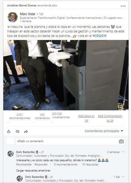 Comentarios en Linkedin