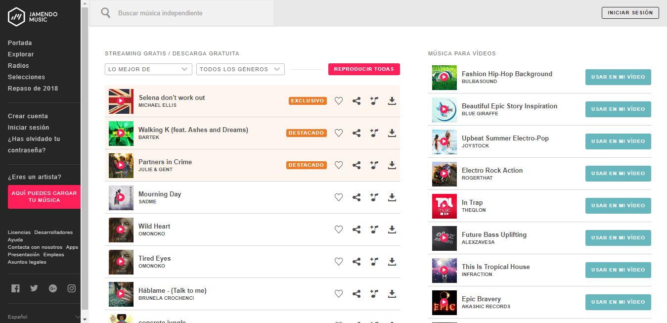 bancos de música gratis: Jamendo