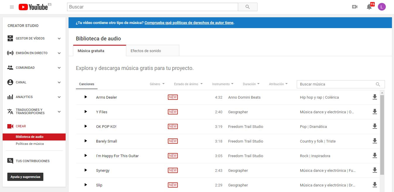 bancos de música gratis: Youtube Audio Library