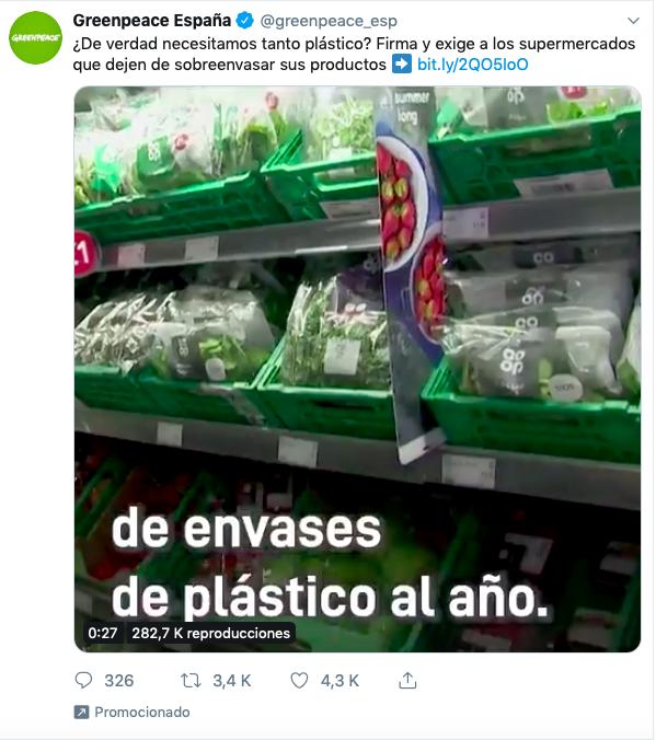 Greenpeace anuncio en twitter