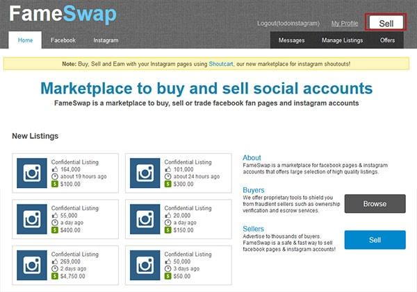 FameSwap: vender las cuentas de Instagram