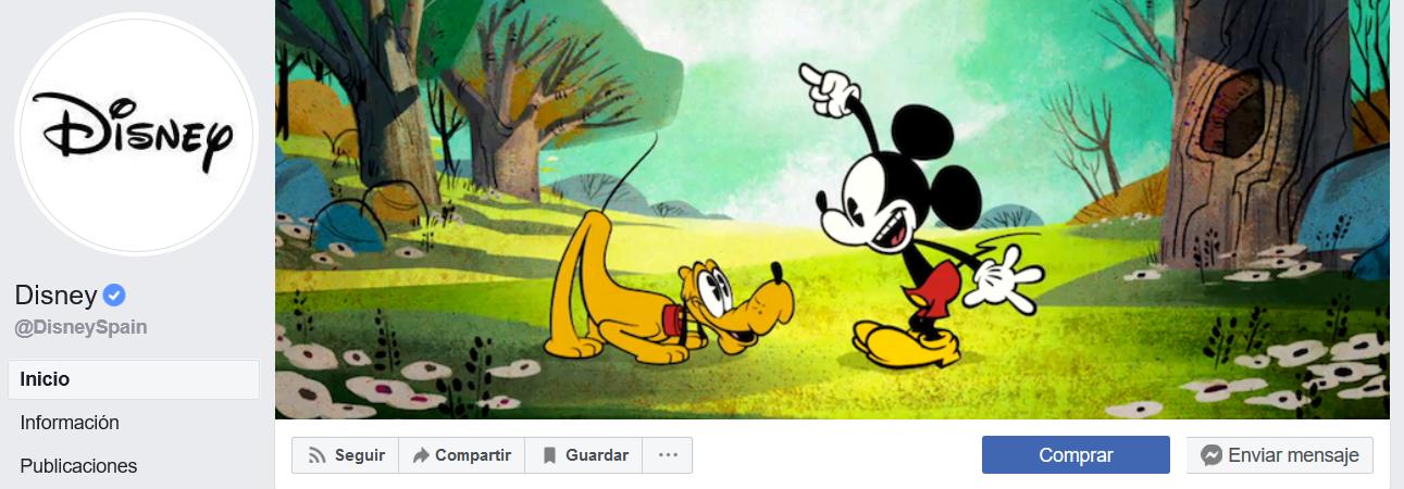 Cuenta de Disney en Facebook